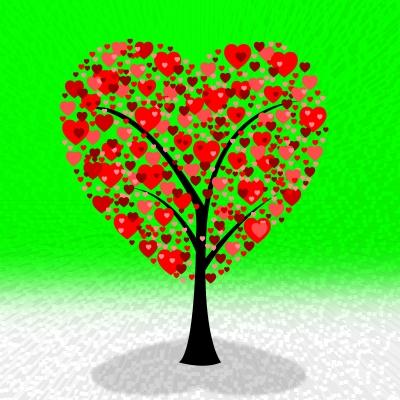 תמונו ליום האהבה ולנטיין דיי עץ לבבות LOVE